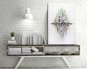 Original Abstract painting gold white large art modern peinture contemporary oil painting 24 x 36 wall art design by L.Beiboer