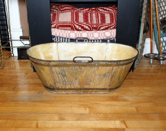 Antique Tin Bath Tub Child's Size Original Rustic Grain Painting