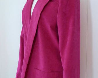 80's Neon Raspberry Ultra Suede Jacket Vegan Oversize Open Front Shocking Pink Long Slouchy Blazer Coat M