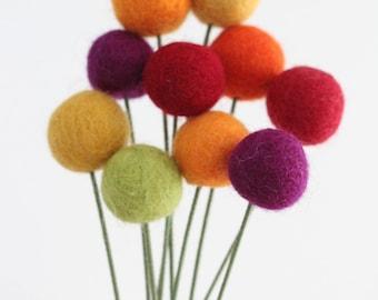 Happy Fall, Y'all Felt Ball Flower bouquet- Wool pom pom flowers- Fall decor- Thankgiving flower bouquet