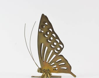 Vintage Brass Butterfly Standing Figurine or Wall Decoration