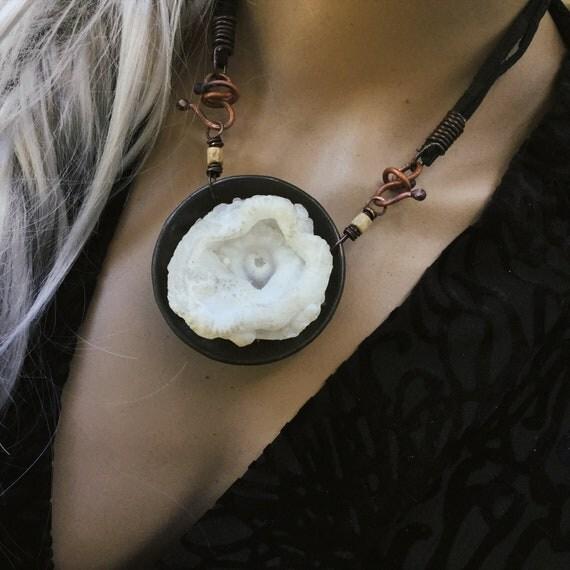 Organic raw stone necklace   unique statement artisan piece