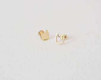 Cat Earstuds in Gold / Silver, Crazy Cat Lady, Meow Studs