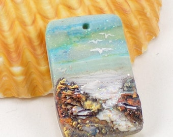 StudioStJames Handcrafted Polymer Clay 20x30mm Small Focal-Ocean Beach Scene with Seashells-Aqua Blue Bead-PA 100614