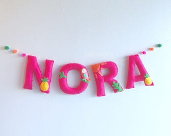 Felt Name Banner - Nursery banner - wall banner - wall banner - nursery wall - nursery decor - tribal nursery - nursery - baby decor