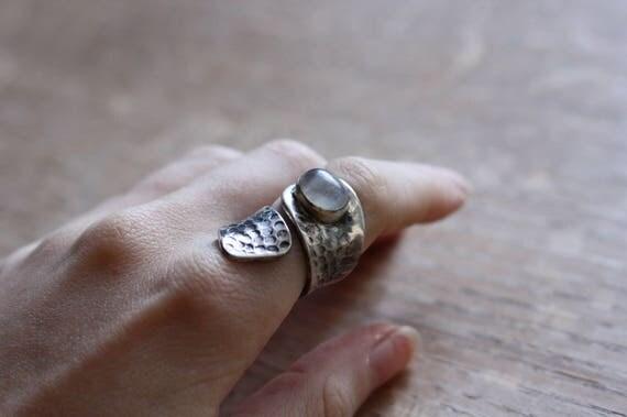 OXIDISED MOONSTONE RING - 925 Ring - Sterling Silver Ring - Moonstone Jewellery - Gemstone - Gift - Vintage Ring - Oxidised Ring - Bespoke