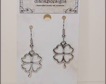 Shamrock charm earrings,hypoallergenic lead free metal alloy,stainless steel,fun boho earrings,custom request,teen tween,4 leaf clover,Irish