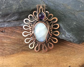 Copper Wire Wrap - Wire Wrapped Pendant - Flower Pendant - Heady Wire Wrap - Wire Wrap Pendant - Moonstone Pendant - Sweet Water Silver