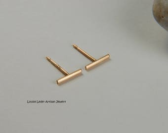 Solid Gold Earrings Simple Gold Earrings 14K Gold Line Earrings Gold Bar Earrings Minimal Earrings Gold Luxury Jewelry