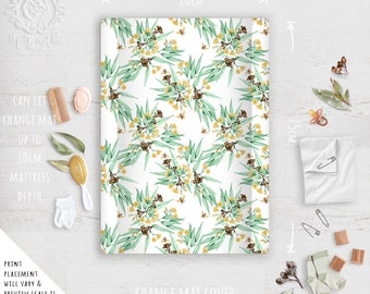 Change Mat Cover/ Bees & Australian Yellow Flowering Eucalyptus/ Linen Cotton or Eco Canvas | Fabric by Thistle and Fox | Ships in 4-5 wks