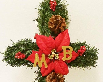 Cemetery Flowers, Gravesite Wreath, Personalized Memorial Cross, Cemetery Flowers, Holiday Memorial Flowers, Funeral