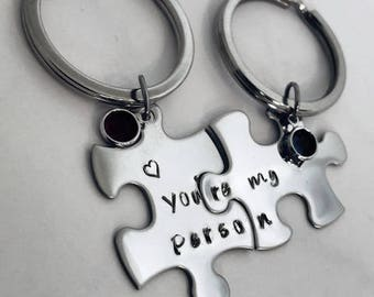 You're my person Grey's Anatomy OR Thelma and Louise Personalized Puzzle Piece Set of 2 Key chains with birthstones Best Friends