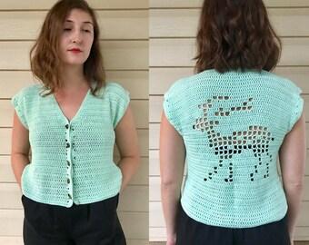 seafoam v-neck knit vest w/ crochet reindeer