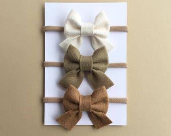 Baby Girl Bow Set, Sailor Bows, Baby Headbands, Baby Bows, Mini Bows, Nylon Headband, Newborn Headband, Felt Bows, Hair Clips, Girls Bows