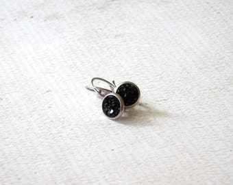 Small Black Druzy Earrings - Simple Faux Stone French