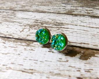 Emerald Green Druzy Posts - Faux Stone Stud Earrings