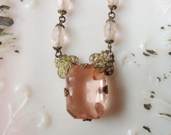 Czech Glass Lavalier Necklace, Blush Pink Art Deco Pendant 1925, Czechoslovakian Necklace