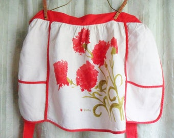 Vera Apron with Red Carnations, Red and White Linen Hostess Apron