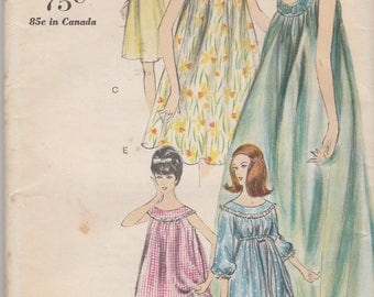 Flowing 60s Nightgown and Panties Pattern Vogue 5725 Size 12