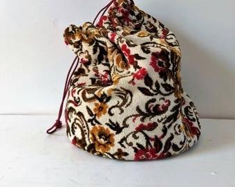 vintage tapestry drawstring bag, knitting bag, fabric bag