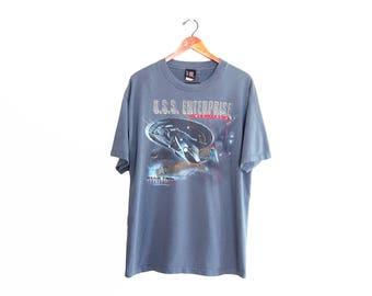 vintage t shirt / Star Trek t shirt / 90s movie t shirt / 1990s blue Star Trek Insurrection t shirt XL