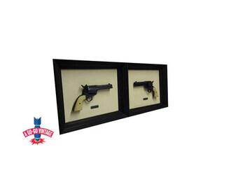 Vintage Colt 45 Wall Hangings Framed, Revolver Gun Western Wall Decor
