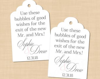 Delicate Elegance Scalloped Wedding Bubble Tags, Pink Gray, Change Colors (1.25x2): Text-Editable Word®, Printable Avery®, Instant Download