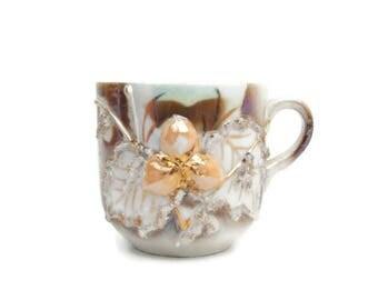 Antique Altenburg Saxony Lusterware German Mug Hand Applied Acorns Raised Relief Maple Leaves Gold Glitter Iridescent Porcelain Coffee Cup