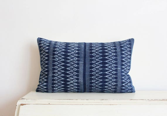 "Indigo batik Hmong pillow cushion cover 12"" x 20"""