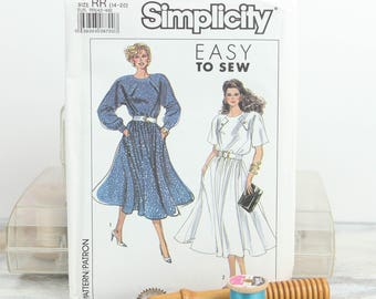 Sizes 14 - 20, Raglan sleeve, Flared Skirt Dress, 1980's Simplicity  (9095) Vintage Sewing Pattern