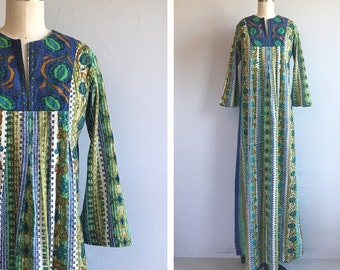 Vintage 1970s Maxi Dress /  70s Liberty House Mod Ethnic Print Floor Length Caftan Dress / Made in Hawaii