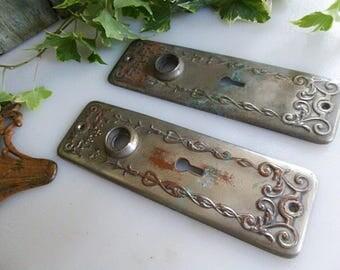 Two Ornate Door Knob Back Plates Door Knob Escutcheons Interior Door  Hardware