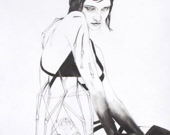 Woman and Bat Familiar Fine Art Print