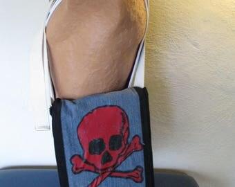 Red Skull upcycled messenger bag