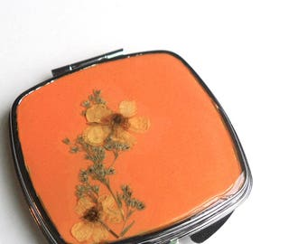 Botanical Compact Mirror, Real Flower Makeup Mirror, Buttercup Flower Compact Mirror, Orange Mirror, Teacher Gift,
