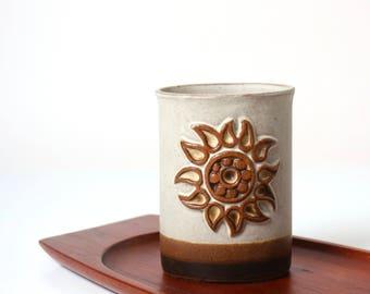 Vintage Tremar Cornish studio pottery vase pot - 1970s rustic retro home decor - Celtic sun - pen brush pot - desk decor - kitchen storage