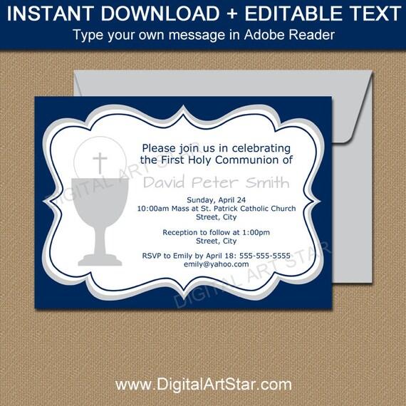 Boy First Communion Invitations Boy Communion Invite EDITABLE PDF
