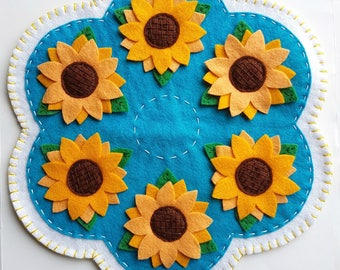 PDF PATTERN: Sunflowers Penny Rug Wool Applique sewing tutorial - summer felt candle mat pattern - DIY Decoration - Holiday accessory