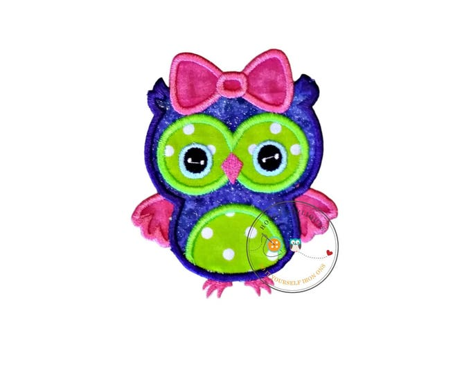 Purple and lime green girl owl with pink bow machine embroidered fabric iron on no sew patch, ready to ship owl patch for kids clothing