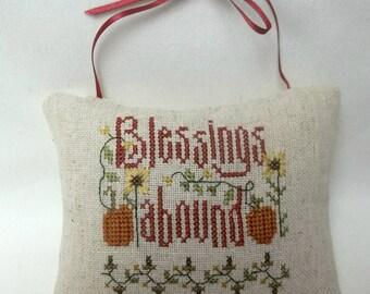 Blessings Cross Stitch Hanging Mini Pillow Door Hanger Autumn Thanksgiving