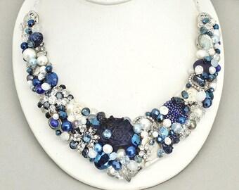 Sapphire Statement Necklace- Cobalt Bridal Necklace- READY TO SHIP- Blue Bridal Necklace- Sapphire Wedding Necklace -Brass Boheme-Cobalt Bib
