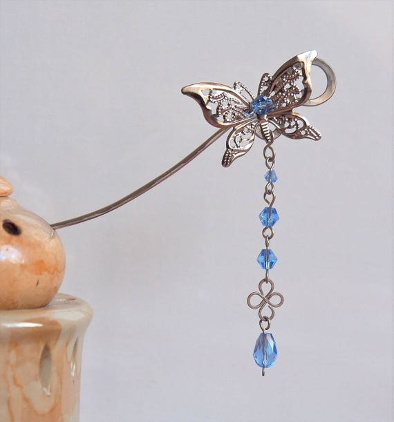 Japanese hairpin Chinese style hair stick pin Light blue Butterfly drop dangle hair jewelry decoration Silver Wedding Bridal accessories