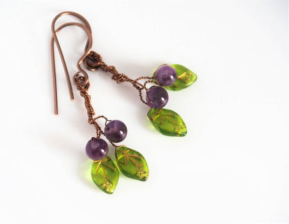 Amethyst earrings Leaf Twig Wire wrapped Gemstone Purple Green Nature jewelry Handmade Gift for women her Christmas gifts Leaves Fall gift