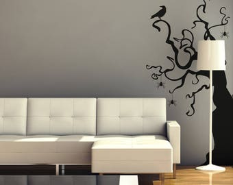 Halloween Tree, Spiders, Crows, Halloween Dacoration, Black Tree Wall Decal, Halloween Decals, Black Crows, Wall Decal, Halloween Crows 709P