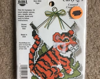 Tiger Curly-Q's Counted Cross Stitch / Plastic Canvas Kit by Needle Magic - NEW UNOPENED KIT