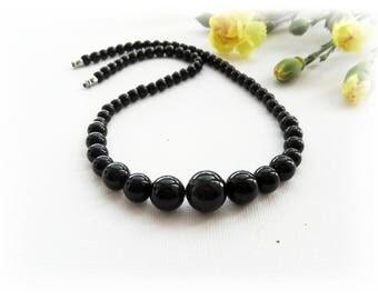 Black Jade Necklace - Gemstone Necklace - Choker - Round Beads Necklace - Black Necklace - Unique Gift