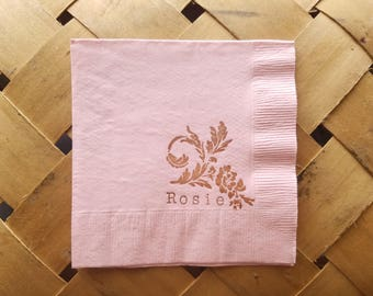 Light Pink Floral Personalized Baby Name Baby Shower Napkins with Coffee ink Cocktail Napkins  - Set of 50