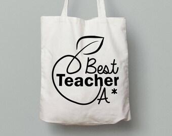 Best Teacher Tote Bag, Teacher Tote Bag, School Leaving Gift, Gift For Teacher, Teacher Gifts, Graduation Tote Bag Canvas,