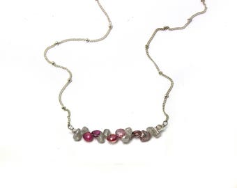 Pink Spinel and Labradorite Necklace. Bridesmaid Gift. Briolette Bar Necklaces.  Multi Gemstone Necklaces.  N2393