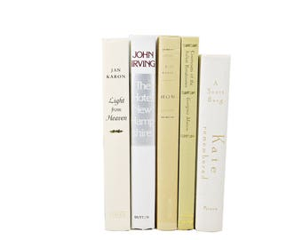 Cream White BOoks, Decorative Books, Beige Book Bundle, Book Collection, Old Book Decor, WEdding Decor, BOok Set, interior home decor